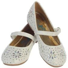 Girls Ivory Glitter Flats Dress Shoes Iridescent Stone Beading Size 5T-4 Youth