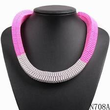 2016 new fashion design colorful ribbon braided bib chunky statement necklace