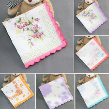 Women Ladies Cotton Floral Wave Edge Lot Handkerchiefs Quadrate Hankies
