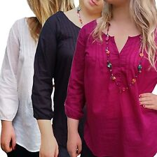 Women's UK PLUS Size 10-24 PinTuck Blouse Tunic Top, Black Pink or Off-white