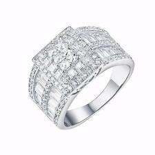 Cluster Set Ring Womens Engagement Wedding Simulated Stones Classy Square Face