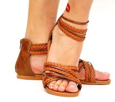 Women's Sandal Back Zip Flat Gladiator Open Toe Casual Flip Flops Ankle Strap