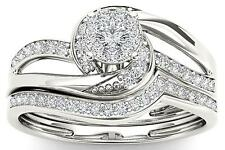10Kt White Gold 0.33 Ct Diamond Engagement Bridal Set Ring