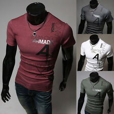 Mens Fashion Casual Short Sleeve Slim Fit Tee Polo T-Shirt Short Sleeve 4Colors
