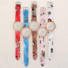 Fashion Women Lady Flower Pattern PU Leather Strap Quartz Analog Wristwatch Gift
