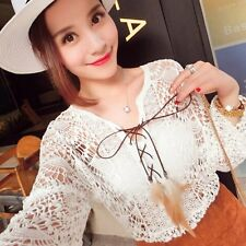 Women Sexy Crochet Lace Hollow Out V-Neck Long Sleeve Tops Blouse T-shirt White