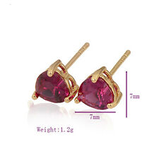 Charming 18K Yellow Gold Filled Colorful CZ womens heart stud earing