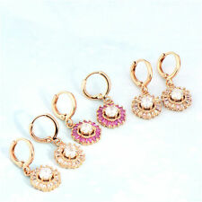 Deluxe 18k Rose Gold Filled swarovski Crystal womens Flower dangle earing