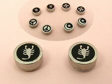 Stainless Steel MAGNETIC PEACE Sign ROUND Ear Stud EARRINGS ~ 8mm Wide ~