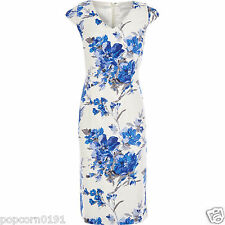 New JACQUES VERT Dress shift floral Print Tags Wedding shift knee Cap blue white