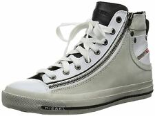 Diesel Expo-Zip White Black Mens Leather Hi Trainers Shoes Boots