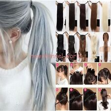 Women New Clip In Ponytail Pony Tail Hair Extensions Straight Curly Human Style