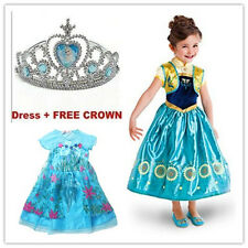 Christmas Kids Girls Cosplay Frozen Elsa Anna Princess Fancy Dress Party Costume