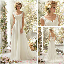 New long White ivory Lace Bridal Gown Wedding Dress Stock Size 6 8 10 12 14 16