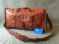 "Handmade Goat Leather 20"" Duffel Bag DM Sport Gym Overnight *Free Leather Care*"