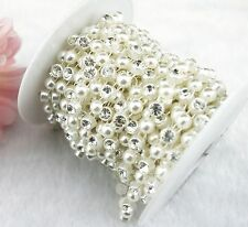 8mm Ivory Heart Pearl Rhinestone Chain Trims Sewing Costume Applique LZ44