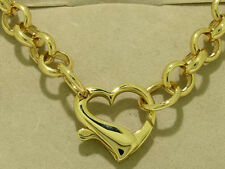 N070- Genuine 9ct 9K Solid Gold Belcher Necklace with Unique Heart Clasp Pendant