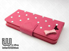Flip Leather Crystal Diamond Bling Wallet Case Cover Stand For Apple iPhone 5 5S