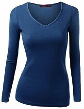 Womens Dress CWTTL031 1 Doublju Long Sleeve V-neck Slim T-shirt
