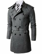 Doublju Mens Wool Coat W/ Belt  (US-S)- Choose SZ/Color.