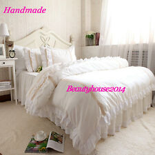Pure White Embroidery Lace & Off White Ruffle Cotton Duvet Cover Set Bedding Set