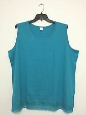 Basic Plus Size Teal Blue Lace Trimmed Tank Top Shirt Blouse Tee 18W & 20W New