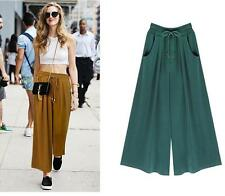 Wide leg pants casual loose Culottes New Big swing Elastic waist skirt pant