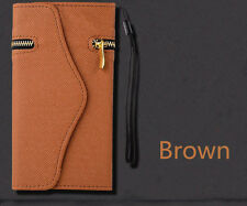 Brown Leather Wristlet Pouch Case Wallet Cover + Zipper For iPhone 6/6s Plus