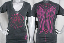 AFFLICTION Sinful women's VEGA T-shirt fleur wings crystals burnout black AW4812