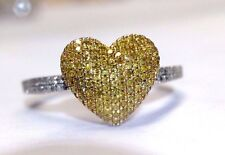 Very Cute! Puffy Pave Natural Yellow Diamond Heart 10K White Gold Ring Size 6.5