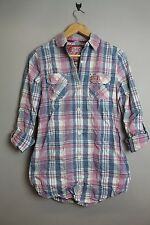 SUPERDRY GS4CE39F WASHBASKET HIPSTER-SHIRT TINTED PINK LONG SLEEVE CHECK SHIRT
