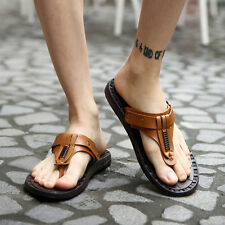 New Mens Casual Genuine Leather Beach Flip-flops Slippers Fashion Shoes Sandals