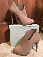 NWT-JESSICA SIMPSON NEESHA TAUPE SUEDE FABRIC/LEATHER ANKLE BOOTS (Sz 6.5/ 9/10)