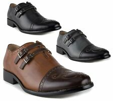New Men's 95731 Leather Lined Double Monk Strap Cap Toe Slip On Dress Shoes