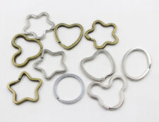 10Pcs Silver Bronze Plated Alloy Key Ring Star Heart Round Key Chain Accessories