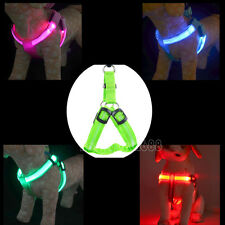 LED Glow Flash Light Dog Puppy Belt Harness Collar Tether Pet Safety Leash Ropes