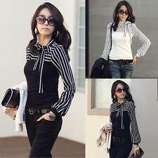 Casual Women Long Sleeve Bowknot Neck Striped Slim Fit Shirt Top Blouse T-Shirt