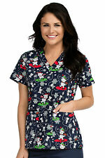 Med Couture Women's Anna Christmas Bears Print Scrub Top 9451-GOFG