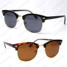 Vintage Retro Black Brown Half Frame Clubmaster Sunglasses