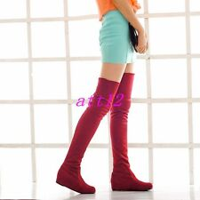 Womens Over Knee High Boot Suede Round Toe Roma Slouch Pull On Hidden Wedge Shoe