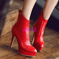 Sz US4-12 Womens High Heel Stiletto Platform Pointy Toe Ankle Boot Party Shoes