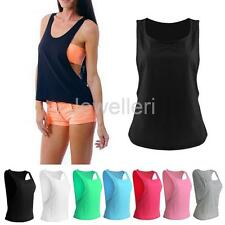 Womens Gym Yoga Fitness Running Tshirts Sleeveless Tank Top Vest Shirt M L XL