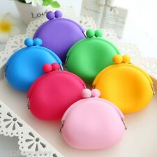 Popular Cute Silicone Round Coin Purses Wallet Card Rubber Key Phone Design Bag