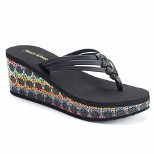 NEW! Juicy Couture Womens Designer Wedge Sandals - Black Rainbow Weave