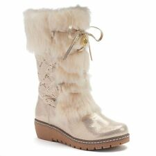 NEW! Juicy Couture Girls Faux-Fur & Leather Charm Boots Silver or Gold Metallic