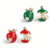 GIRL ASYMETRIC SMALL BITED CRYSTAL APPLE STUD EARRINGS,RED/GREEN,FREE POST IN OZ