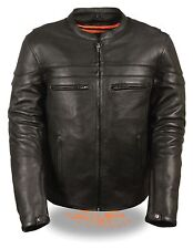 Men's Naked Cowhide Stylish Vented Leather Motorcycle Jacket w/ Reflective