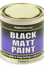 750ml Long Lasting Black Matt Paint Can Easy To Apply Indoor Outdoor Adhesion