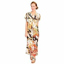 One World Micro Jersey Dolman Sleeved Embellished Neck Printed Maxi Dress