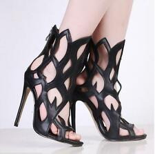 Fashion Sexy Women's Shoes Summer Leather Stiletto Heel Hollow sandals